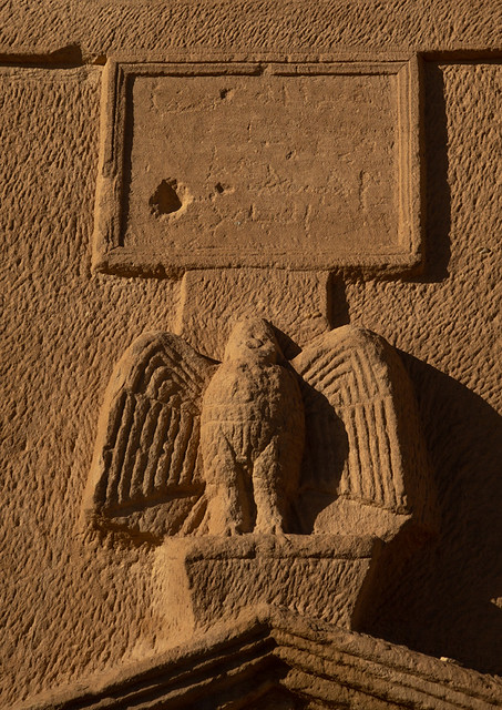 Carved eagle on a tomb in al-Hijr archaeological site in Madain Saleh, Al Madinah Province, Alula, Saudi Arabia