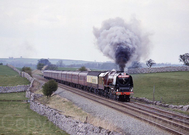 24th April 1993 LMS Princess Coronation Class 8P 46229 Duchess of Hamilton heads south nearing Kirkby Stephen on the Settle & Carlisle