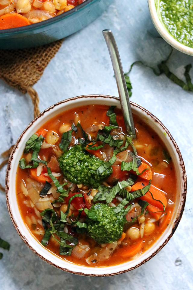 Chickpea, Tomato, and Orzo Soup with Basil Pesto