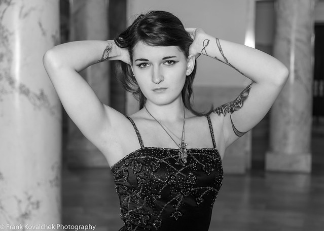 B&W portrait of a lovely young lady