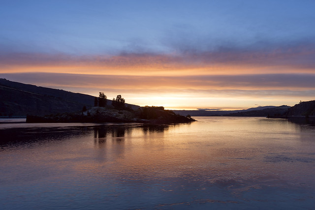 Eighteen Mile Island and the Columbia River at Sunrise