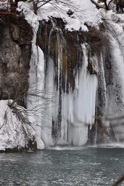 Frozen waterfall in Plitvice Nationalpark, Croatia