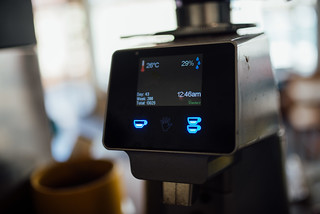 Interface of a espresso machine ready for use