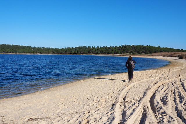 Walking beside the sea lagoon, Lagoa de Albufeira, Sesimbra, Portugal