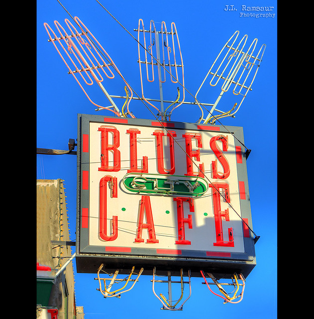 Blues City Cafe sign - Beale Street - Memphis, Tennessee