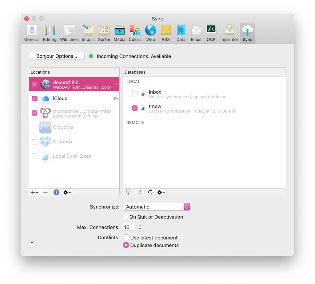 DevonTHINK preference pane with options for webdav, icloud, and others