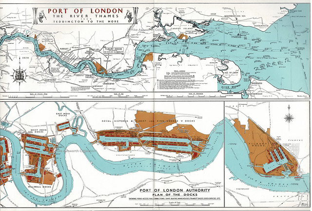 The Port of London - plan of the River Thames from Teddington to The Nore, c1960 - eastern section