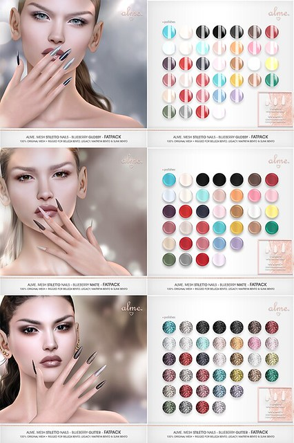 "Alme. for Belle. Events – ""Mesh Stiletto nails// Blueberry colors collection"""