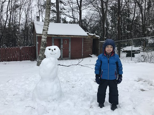 Ezra and a snowperson