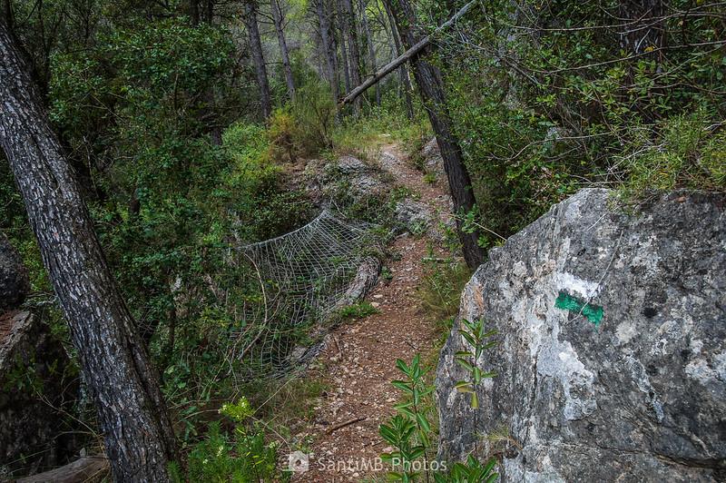 Malla de acero junto al camino de les Gorges del Foix