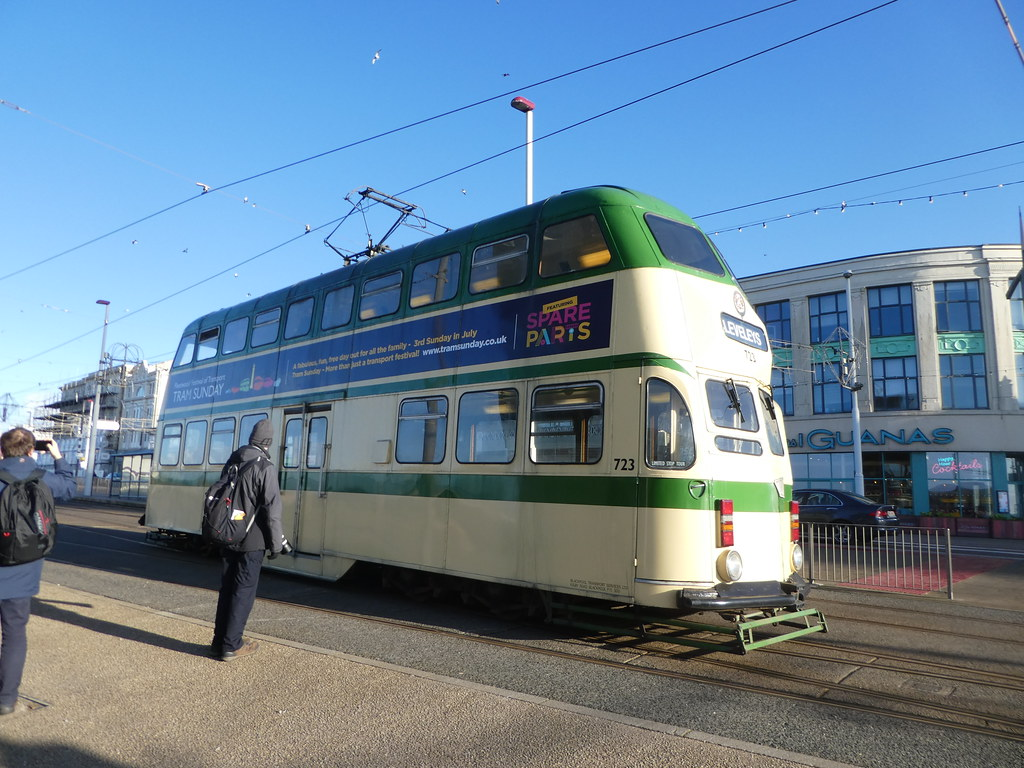 Heritage double decker tram Blackpool seafront