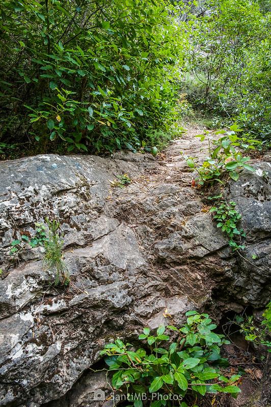 Roca al otro lado del Salt del Tronc en el río Foix