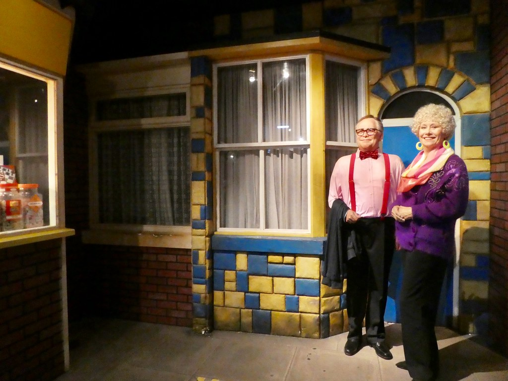 Jack and Vera Duckworth outside their former home on Coronation Street Madame Tussaud's Blackpool