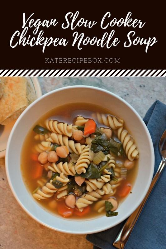 Vegan Slow Cooker Chickpea Noodle Soup