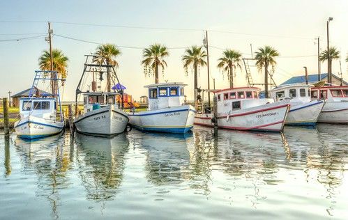 texas oysterboats sunrise dawn water reflection pier palms woodhulls