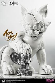 昇華至典雅古玩的藝術氣息! Tik Ka from East × Soap Studio「湯姆貓與傑利鼠」、「傻大貓和崔弟」雕像 白雲石限量版 (Mable Limited Edition)
