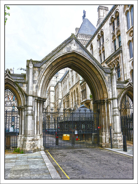 Gated Entrance, Royal Courts of Justice, Strand, Temple, London, England UK