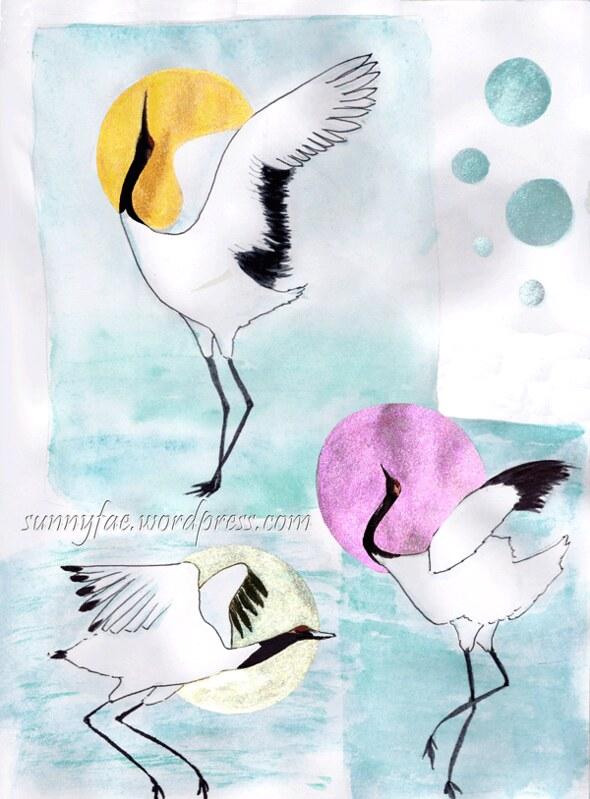 dancing cranes sketch page