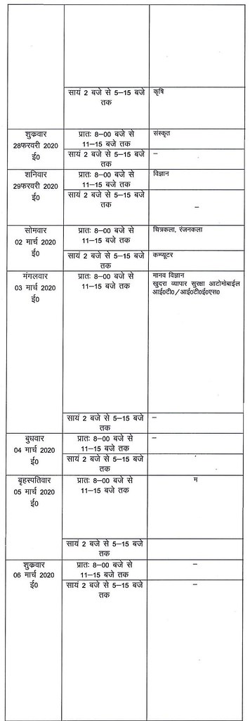 UP Board Class 10 Time Table 2020