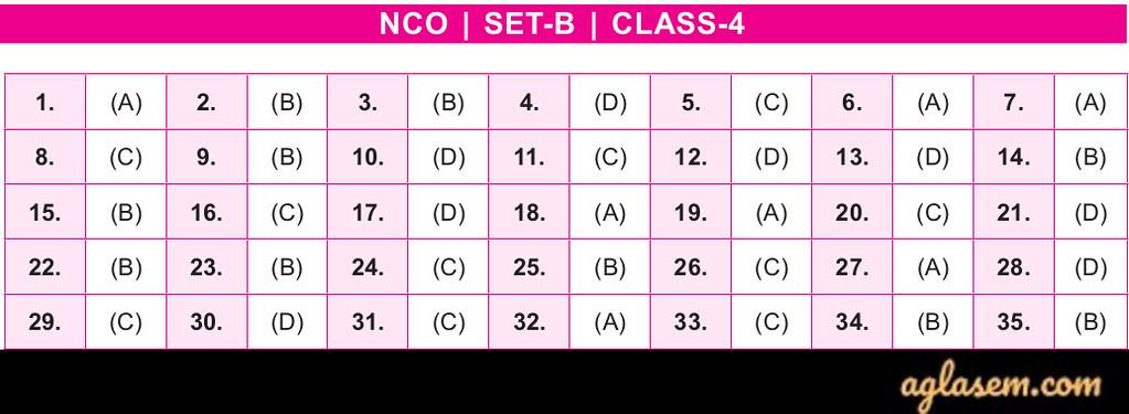 19th NCO 2019 - 2020 Answer Keys - Class 4
