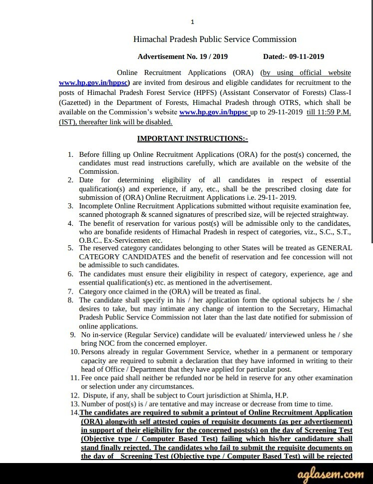HPPSC Forests Service Notification 2020