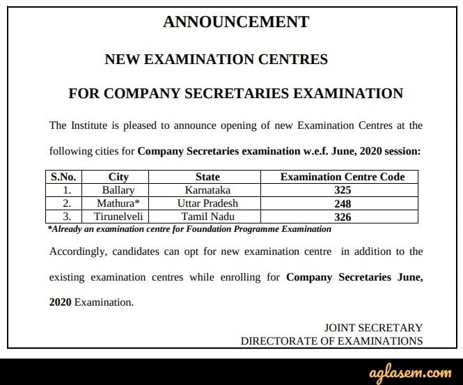 CS Foundation Jun 2020 new test centers