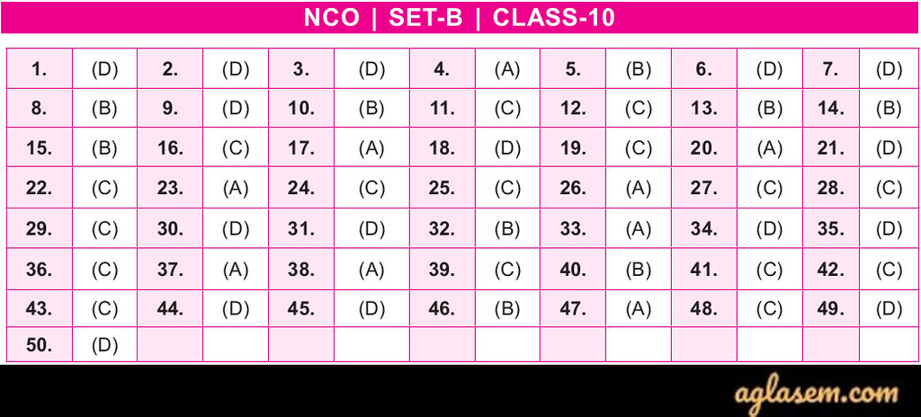 19th NCO 2019 - 2020 Answer Keys - Class 10