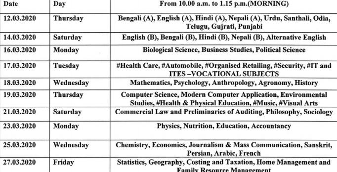 West Bengal Class 12 Exam Routine 2020