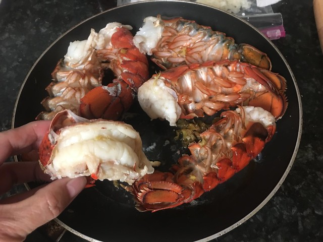 Pan-cooked lobster tails