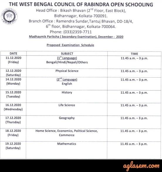 Rabindra Open Schooling Madhyamik Routine December 2020