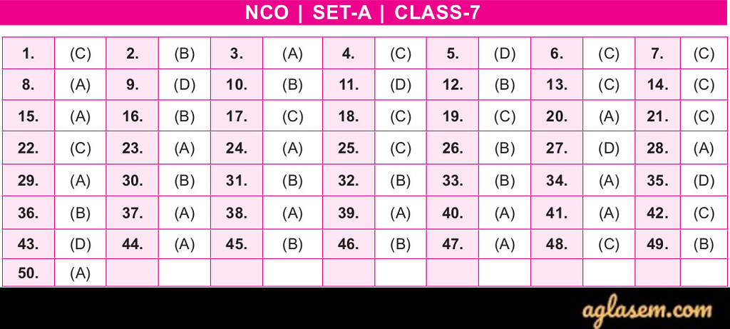 19th NCO 2019 - 2020 Answer Keys - Class 7