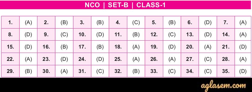 19th NCO 2019 – 2020 Answer Keys – Class 1