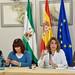 Susana Díaz participa en un encuentro con organizaciones de mujeres en el Parlamento de Andalucía.
