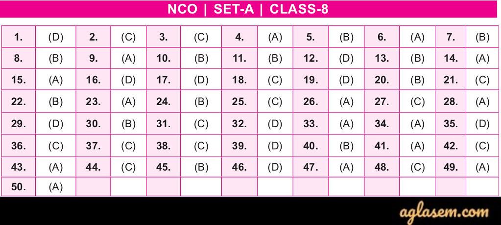 19th NCO 2019 - 2020 Answer Keys - Class 8
