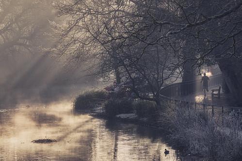 chiswick house london dawn crepuscular rays sunrise jog run jogger winter