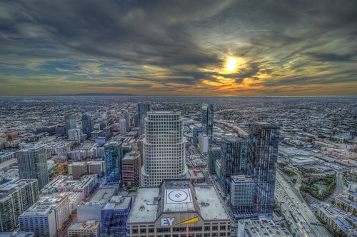 intercontinentalhotel losangeles dtla downtownlosangeles city urban sunset sky clouds