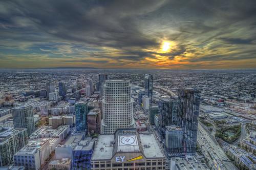 intercontinentalhotel losangeles dtla downtownlosangeles city urban sunset sky clouds