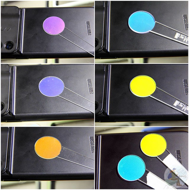 彩膜很特別,像是把彩膜樣板放在黑色背蓋所呈現的顏色都會有所不同 - 艾斯机膜 一中店
