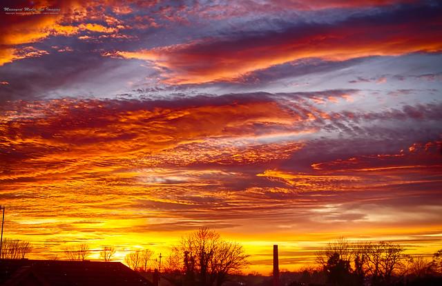 Glorious evening sunset over Banbridge