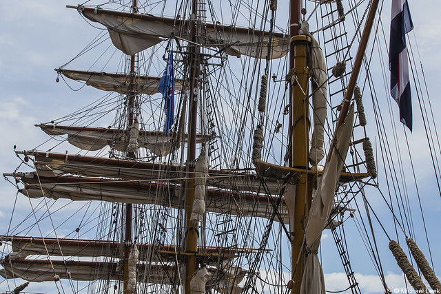 The masts and spars of the Dutch registered barque Europa, IMO 8951932; Boston, MA, USA