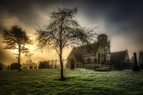 sunrise cemetery fog gloucester gloucestershire hdr 5xp d7100