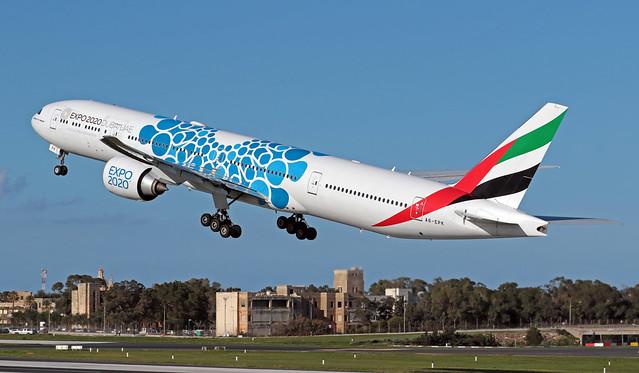 A6-EPK LMML 19-01-2020 Emirates Boeing 777-31HER CN 42330