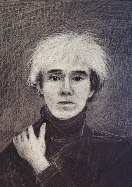Andy Warhol. Portrait in white pencil on black card by jmsw. Details in black pencil.