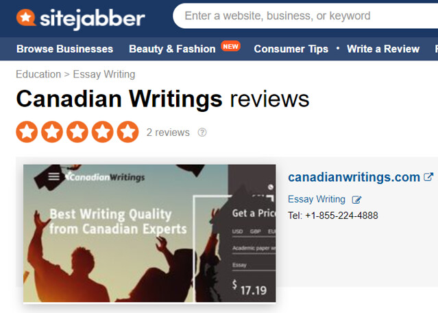 canadian writings reviews on sitejabber