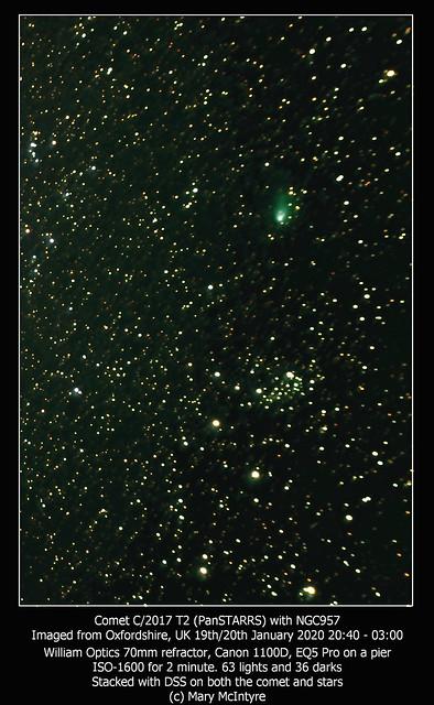 Comet C/2017 T2 (PanSTARRS) with NGC 957 19/01/20