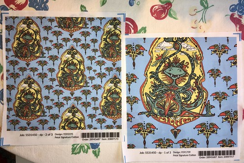 """""""Art Nouveau Dragon Fantasy"""", large and small scale fabric test swatches. Original design hand drawn by me with pencils, artist pens and colored digitally."""