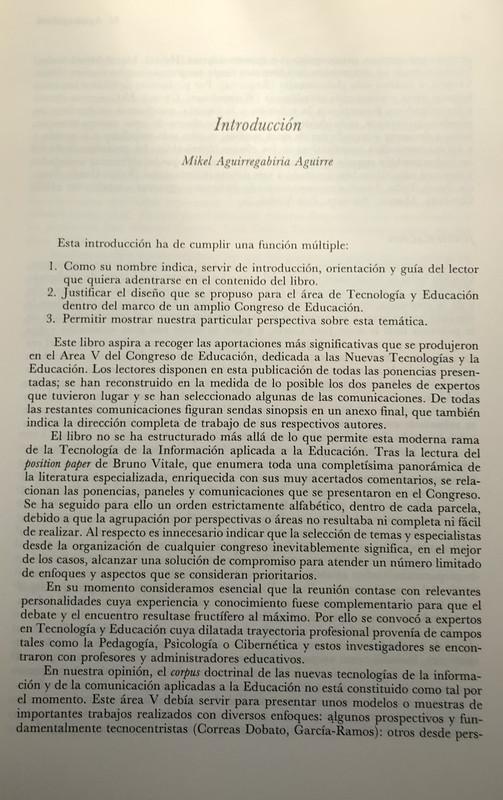 Introducción, pág 13. Tecnología y Educación, de Mikel Agirregabiria en Editorial Narcea