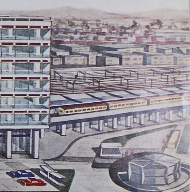 西武鉄道新宿線が国鉄新宿駅ビルに乗り入れるイラスト