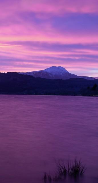 Sunset over Ben Lomond and loch ard
