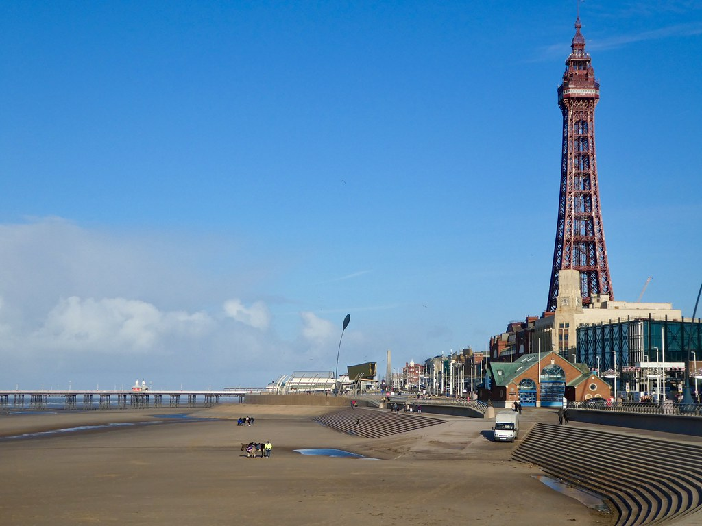 Blackpool Tower and its wide, sandy beach